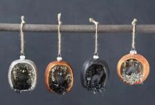 Halloween Mercury glass Pumpkin Ornaments with Black Cat and Owl Set of 4 New