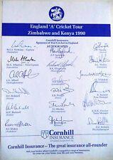 England 'a' a Zimbabue & Kenia 1990: hoja de autógrafos oficial de cricket