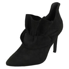 ANNE MICHELLE F4R421 LADIES HIGH HEEL PULL ON POINTED TOE BLACK ANKLE BOOTS SHOE