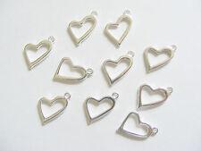 10 Metal Silver Colour Open Heart Charms/Pendants - 20mm