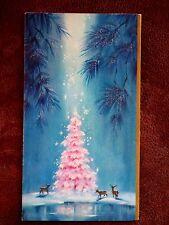 Vintage Christmas Card UNUSED Moon Light Shines On Glitter PINK Tree Deer