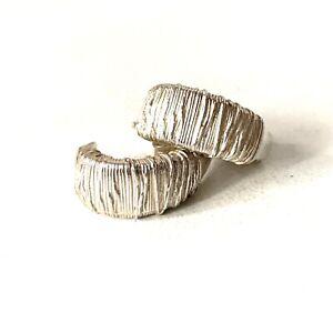 Solid Sterling Silver Small Half Loop Hoop Texture Effect Earrings - Butterfly
