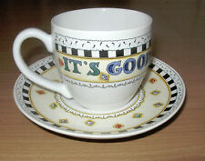 Mary Engelbreit Ceramic Teacup Cup & Saucer It's Good To Be Queen Me Ink 8 oz