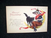 Halloween Postcard Stecher Original Vintage 1238-D Witch Black Cat On The Moon