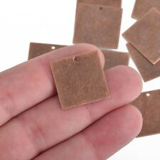 10 SQUARE Distressed COPPER Stamping Blanks Charms 24 gauge 20mm msb0472