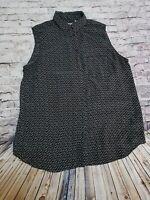 Uniqlo Women's Size Large Navy Print Sleeveless 100%Silk Blouse Work