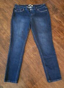 D. Jeans NY Womens Plus 16W Denim Blue Straight Leg Stretch Jeans Rhinestones