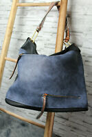 Italy Tasche Shopper Handtasche schwarz blau Zipper Kunstleder Leder blogger