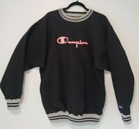 Vintage Champion 90s Embroidered Varsity Black Reverse Weave Sweatshirt XXL