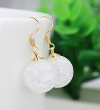 HORSE & WESTERN GIFTS JEWELLERY JEWELRY CRACKLE BALL DROP EARRINGS WHITE