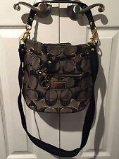 Coach Poppy Signature Lurex Cinch Bucket Bag Black & Gold 17930