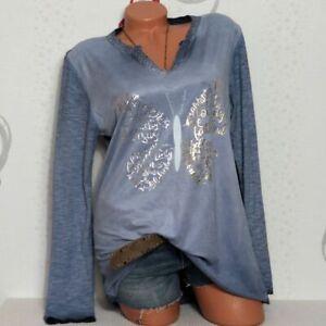 Damen Tunika Shirt Bluse Glitzer Batik Schrift Stofmix 38 40 42 Italy