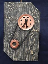 Natural Wood Cycle Chain Spool Recycled Art Deco Vintage Unique Wall Clock
