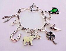 Good Luck Bracelet Clover Elephant Horseshoe Silver Casino Toggle Clasp Icon