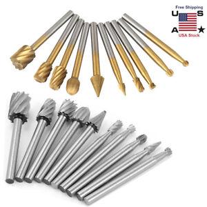 """10pcs Tungsten Carbide Burrs Rotary Burr Set 1/4"""" Head 1/8 Shank Die Grinder Bit"""