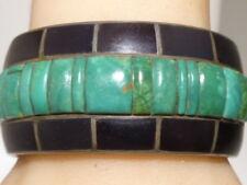 Danny J Stewart Sterling Cuff Bracelet Inlay Cobblestone Turquoise Jet Vintage