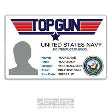 PERSONALISED Printed Novelty ID- TOP GUN Navy Training School FILM 80'S TV