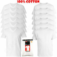 New 3-6 Pack Mens 100% Cotton Crew& V-Neck Tagless T-Shirt Undershirt White S-XL