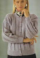 "Ladies Cardigan Knitting Pattern with Blackberry design 28-42"" DK 637"