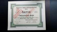 Aktie Allgemeine Boden-AG 2000 Mk 1923 Berlin kein BaRoV