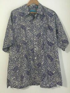 Tori Richard mens purple leaf botanical short sleeve Hawaiian shirt size 2XL