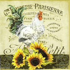 4x Paper Napkins for Decoupage Rooster and Sunflowers