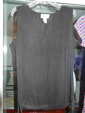 CAROLYN STRAUSS Sleeveless Blouse Top Black Size Large NEW