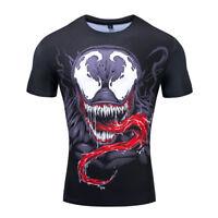 Men's Venom Face Compression 3D Print T-shirt Black Fitness Short Gym Top Tee