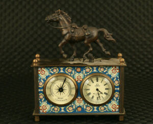unique chinese copper mechanical watch horse figure table watch clock