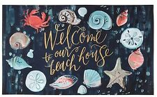 "All Weather Mat ""Welcome to our Beach House"" Beach Nautical Shell decor -18 x 30"