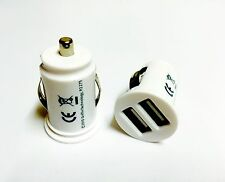 USB Dual Car Charger Twin Port Lighter Socket For Mobile Phone, White