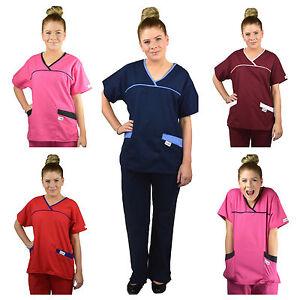 ScrubShine Medical Crossover Scrubs Set/ Uniform- Nurse- Choose Size & Colour