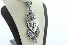 Bali Intricate Goddess Face with Amethyst Dangle Pendant BC Sterling Silver 925