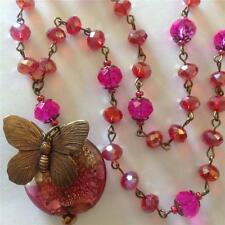 Handmade Sparkling Crystal Necklace, Dichroic Glass Pendant, Bronze Butterfly