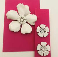 Vintage Metal Enamel Flower Brooch White Big Layered Pin Matching Stud Earrings
