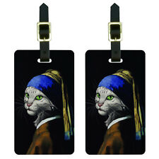 The Cat With The Pearl Earring - Girl Johannes Vermeer Painting Luggage Tags Set