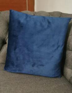 BLUE PLUSH VELVET CUSHION COVERS 17 x 17 PAIR 2 BRAND NEW BED SLEIGH DIVAN LUSH