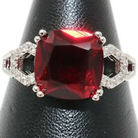 Antique Ruby Ring Women Wedding Engagement Jewelry White Gold Plated Gift Box