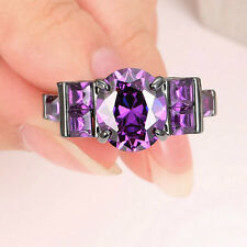 Women Dazzling Size 7 Jewelry Amethyst 10KT Black Gold Filled Cocktail Ring