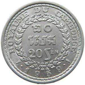 CAMBODIA 20 SEN 1959 TOP #s19 195