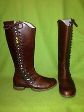 Brown Fluevog Vibes Zip-Up Knee-High Boots with Side Lace detail 7