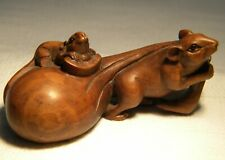 More details for netsuke  carved  boxwood rats & sack