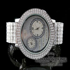 MEN KHRONOS 14K WHITE GOLD FINISH 2 ROW DUAL TIMER GENUINE DIAMOND CUSTOM WATCH