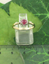 SASSI DR2143 Ladies 9ct 375 Yellow Gold Real Ruby & Diamond Cluster Ring