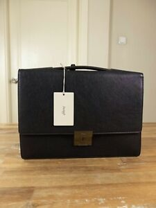 $1990 BRIONI brown textured leather slim briefcase bag authentic - NWT