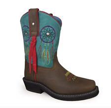Smoky Mountain Youth Dream Catcher Leather Boots Turquoise Brown Girls 12D New