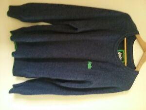 """Superdry Vintage Jumper Blue Green Trim Logo XXL 44"""" Chest Excellent Condition"""