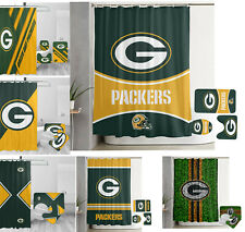 Green Bay Packers Bathroom Rug Set 4PCS Shower Curtain Toilet Seat Cover Gifts