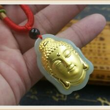Pure 24K Yellow Gold & Natural Hetian Jade Buddha Pendant 35*24mm