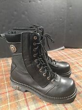 "Harley Davidson Mens Sz 10 94124 Black Leather Motorcycle Boots 10"" WOW"